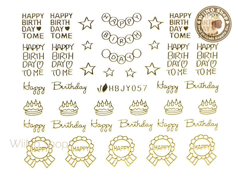HBJY057 Gold Happy Birthday Nail Sticker Nail Art - 1 pc