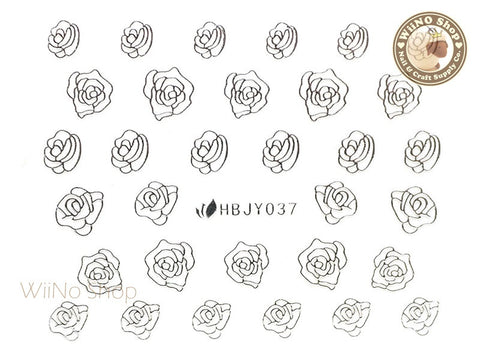 HBJY037 Silver Rose Nail Sticker Nail Art - 1 pc