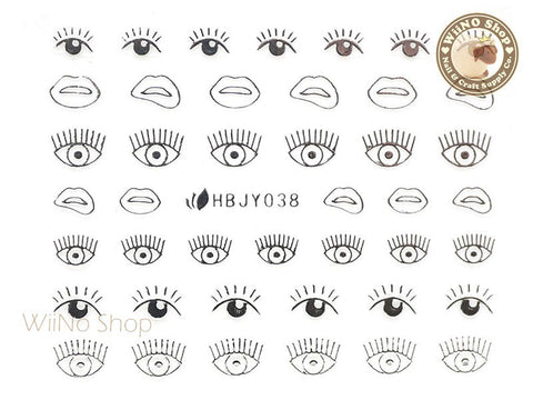 HBJY038 Silver Eyes Nail Sticker Nail Art - 1 pc