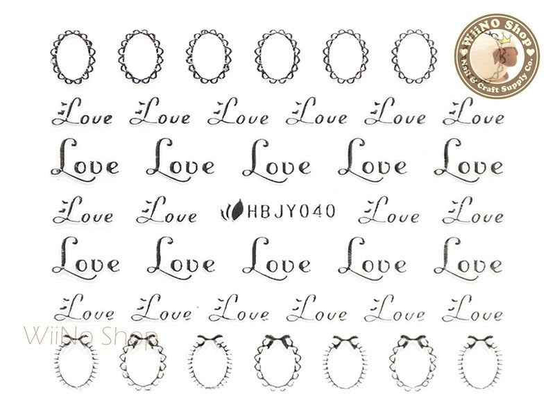 HBJY040 Silver Love Frame Nail Sticker Nail Art - 1 pc