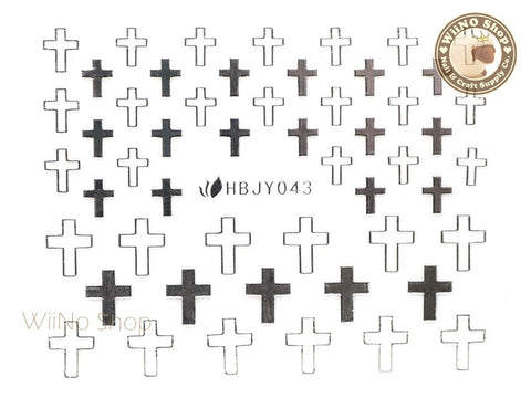 HBJY043 Silver Cross Nail Sticker Nail Art - 1 pc