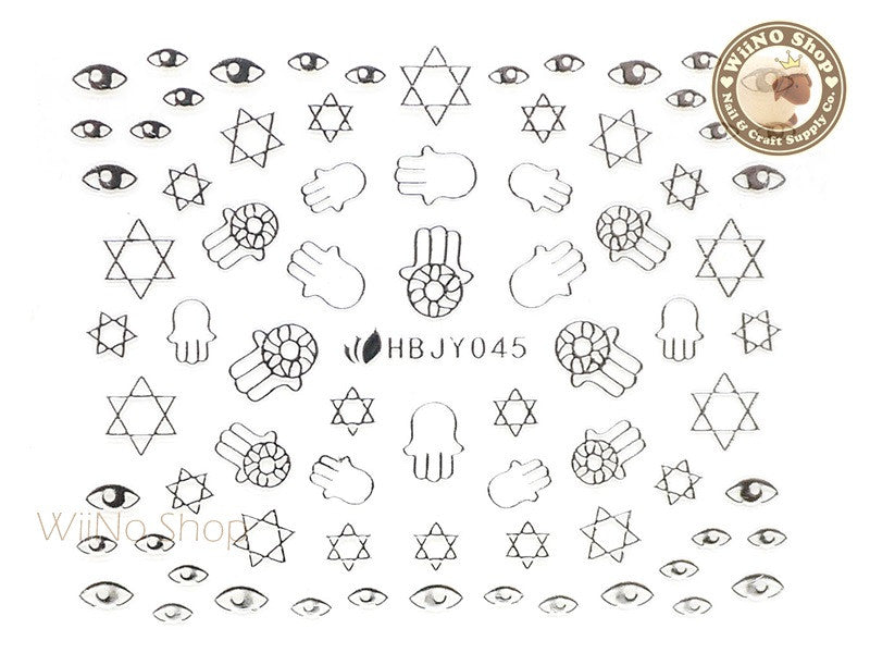 HBJY045 Silver Hand Eye Nail Sticker Nail Art - 1 pc