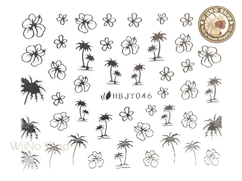 HBJY046 Silver Palm Tree Hibiscus Nail Sticker Nail Art - 1 pc