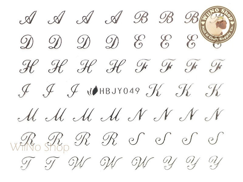 HBJY049 Silver Letter Nail Sticker Nail Art - 1 pc