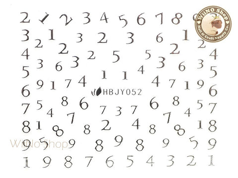 HBJY052 Silver Number Nail Sticker Nail Art - 1 pc