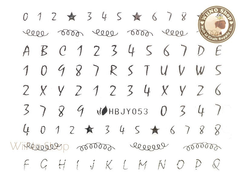 hbjy053 silver number letter nail sticker nail art 1 pc wiino shop