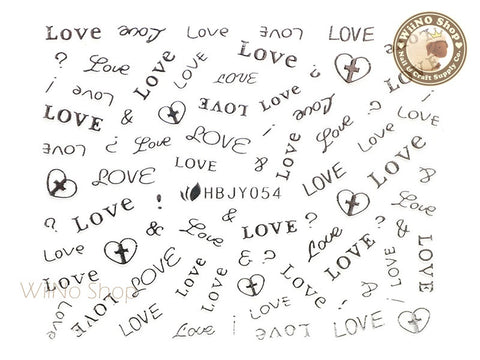 HBJY054 Silver Love Letter Nail Sticker Nail Art - 1 pc