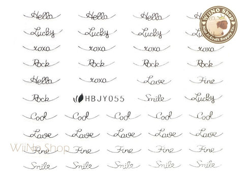HBJY055 Silver Cool Lucky Love Nail Sticker Nail Art - 1 pc