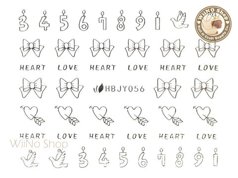 HBJY056 Silver Heart and Candles Nail Sticker Nail Art - 1 pc