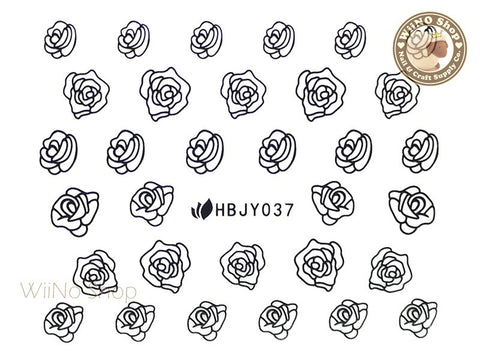 HBJY037 Black Rose Nail Sticker Nail Art - 1 pc