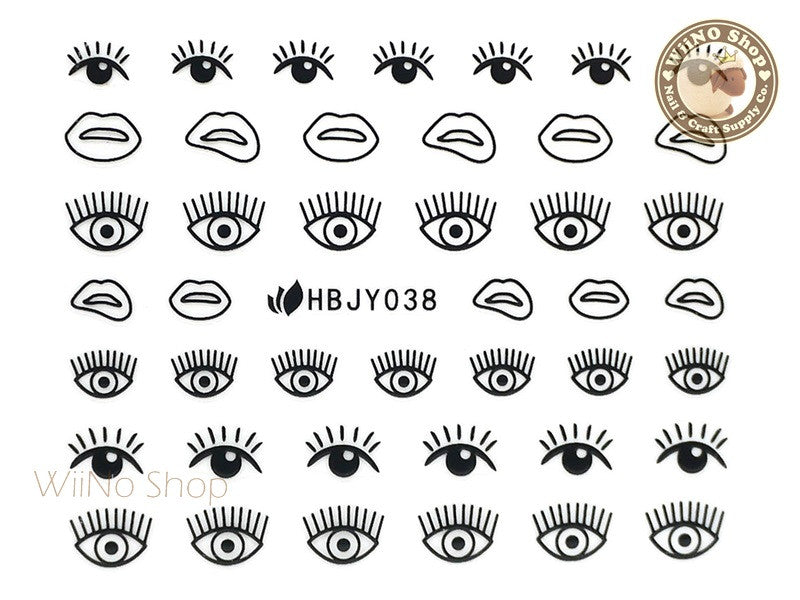 HBJY038 Black Eye Nail Sticker Nail Art - 1 pc