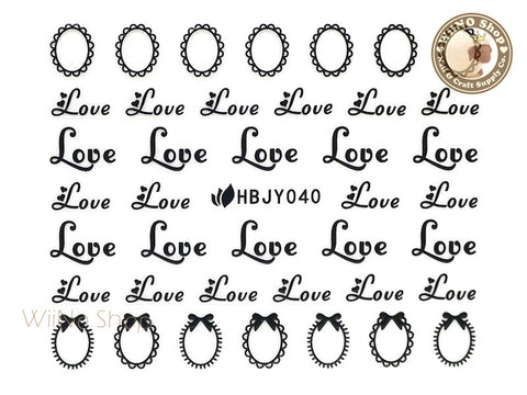 HBJY040 Black Love Frame Nail Sticker Nail Art - 1 pc