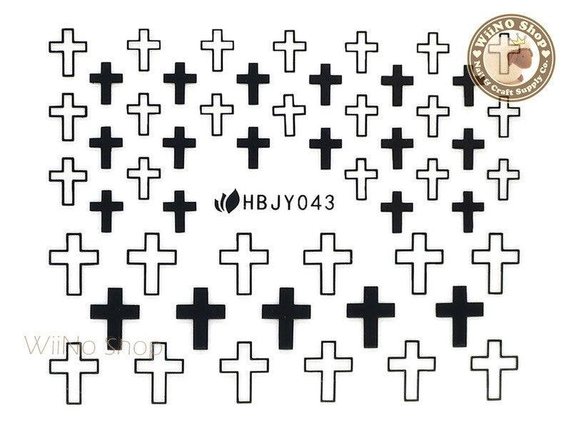 HBJY043 Black Cross Nail Sticker Nail Art - 1 pc