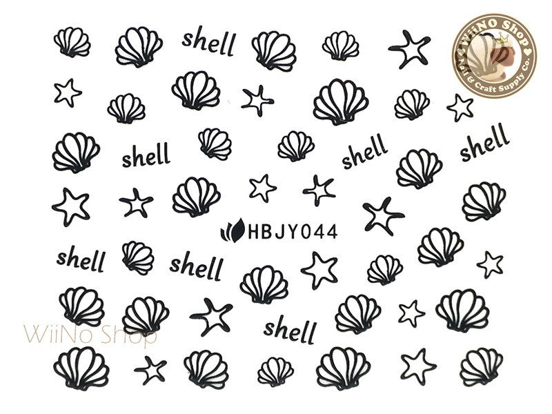 HBJY044 Black Shell Starfish Nail Sticker Nail Art - 1 pc