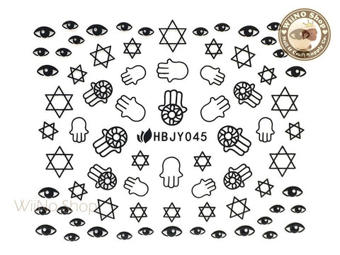 HBJY045 Black Hand Eye Nail Sticker Nail Art - 1 pc