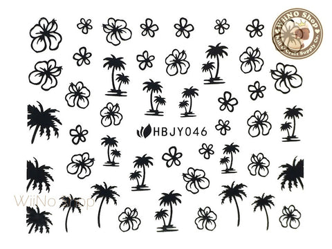 HBJY046 Black Palm Tree Hibiscus Nail Sticker Nail Art - 1 pc