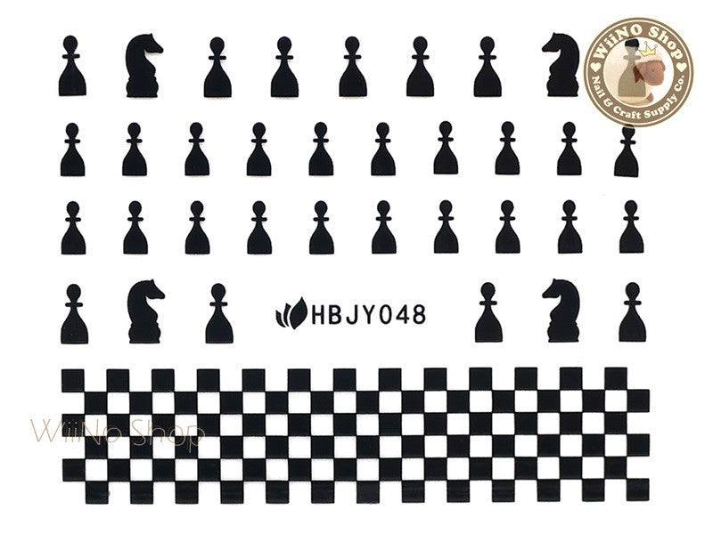 HBJY048 Black Chess Nail Sticker Nail Art - 1 pc