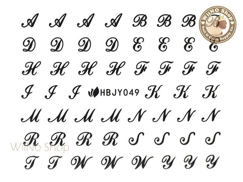 HBJY049 Black Letter Nail Sticker Nail Art - 1 pc