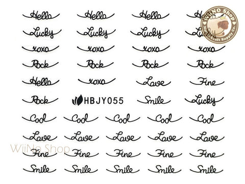 HBJY055 Black Cool Lucky Love Nail Sticker Nail Art - 1 pc