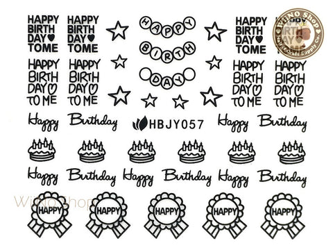 HBJY057 Black Happy Birthday Nail Sticker Nail Art - 1 pc