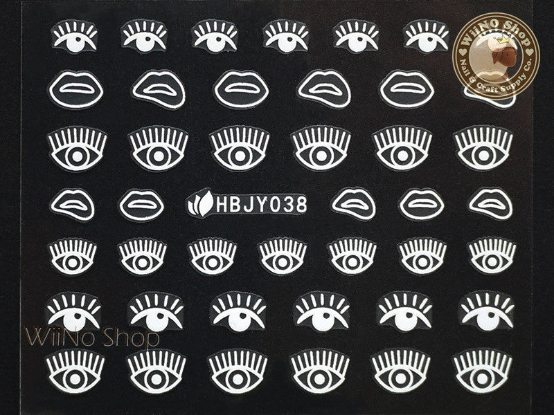 HBJY038 White Eyes Nail Sticker Nail Art - 1 pc
