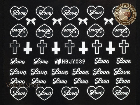 HBJY039 White Love Cross Nail Sticker Nail Art - 1 pc