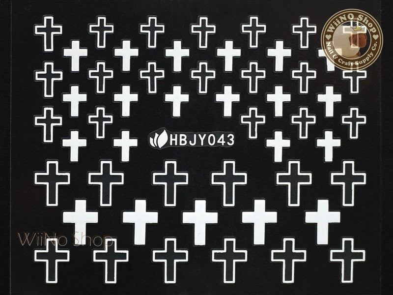 HBJY043 White Cross Nail Sticker Nail Art - 1 pc
