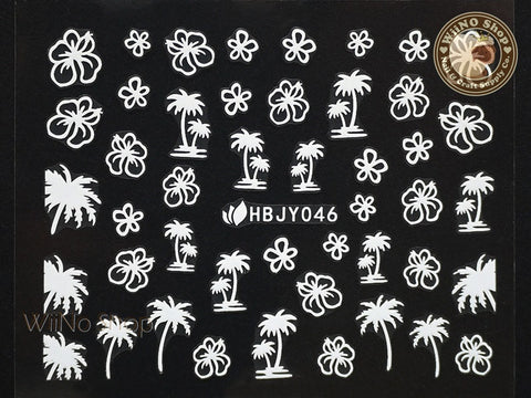 HBJY046 White Palm Tree Hibiscus Nail Sticker Nail Art - 1 pc