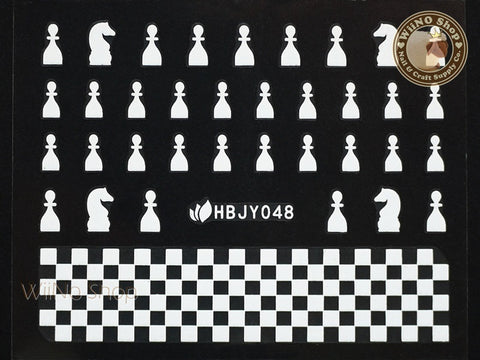 HBJY048 White Chess Nail Sticker Nail Art - 1 pc