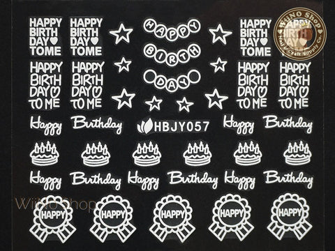 HBJY057 White Happy Birthday Nail Sticker Nail Art - 1 pc