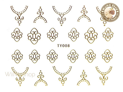 Gold Pattern Nail Sticker Nail Art - 1 pc (TY008G)