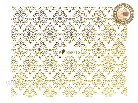Gold Damask Pattern Adhesive Nail Sticker Nail Art - 1 pc (BM013aG)