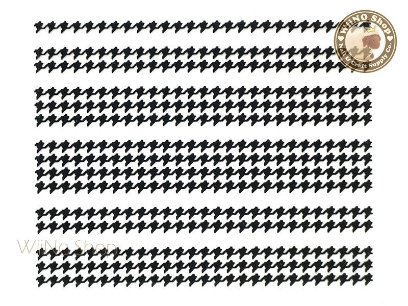 Houndstooth Pattern Black Adhesive Nail Sticker Nail Art - 1 pc
