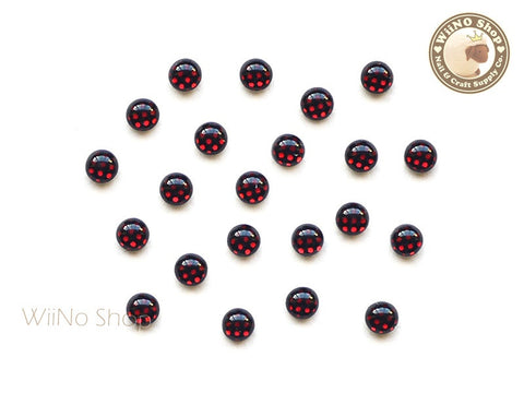 3mm Red Polka Dots Pattern Cabochon Nail Art - 10 pcs