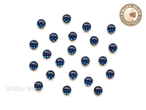 3mm Royal Blue Polka Dots Pattern Cabochon Nail Art - 10 pcs