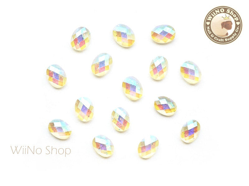 6 x 8mm AB Clear Glitter Oval Flat Back Acrylic Rhinestone Nail Art - 10 pcs