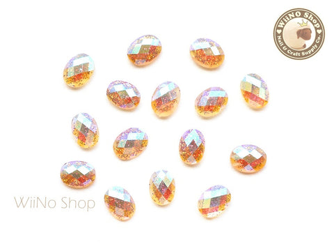 6 x 8mm AB Copper Glitter Oval Flat Back Acrylic Rhinestone Nail Art - 10 pcs