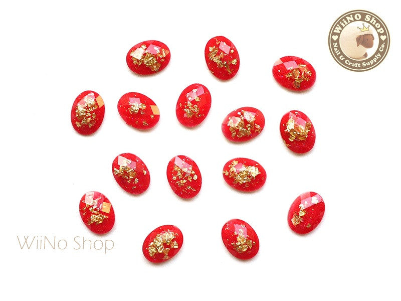 6 x 8mm Red Gold Foil Glitter Oval Flat Back Acrylic Rhinestone Nail Art - 10 pcs