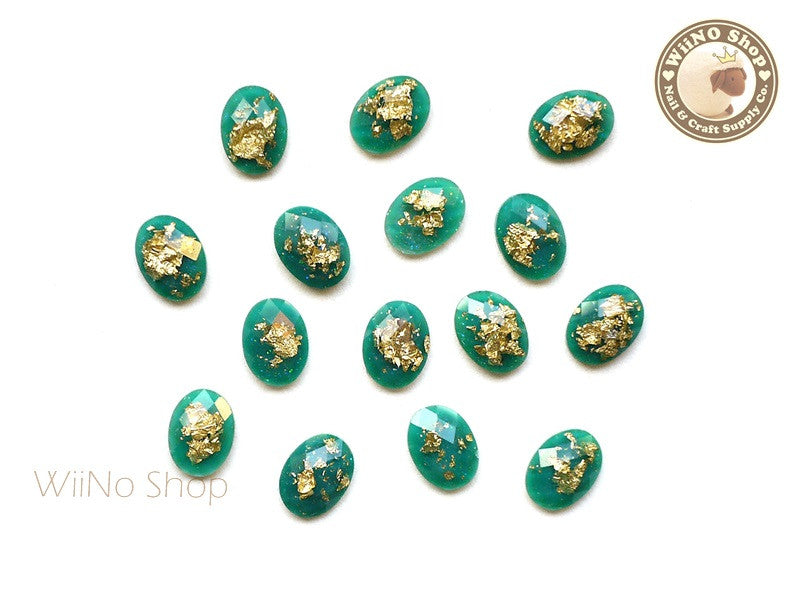6 x 8mm Green Gold Foil Glitter Oval Flat Back Acrylic Rhinestone Nail Art - 10 pcs