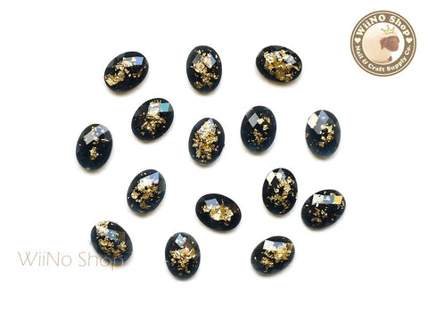 6 x 8mm Black Gold Foil Glitter Oval Flat Back Acrylic Rhinestone Nail Art - 10 pcs