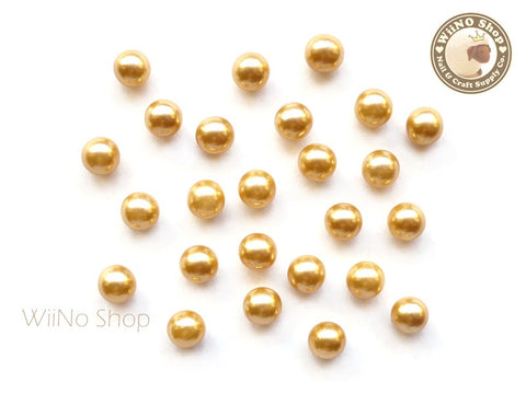 5mm Yellow Pearl Beads Nail Art Decoration (No Hole) - 10 pcs