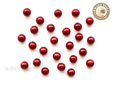 5mm Red Pearl Beads Nail Art Decoration (No Hole) - 10 pcs