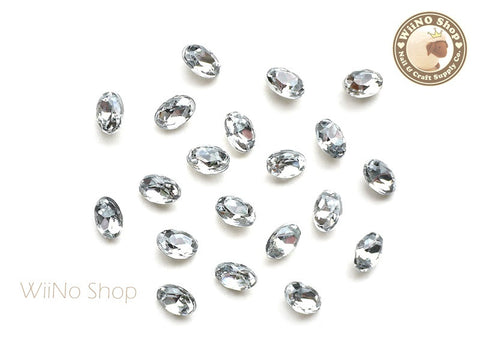 6 x 4mm Clear Oval 3D Point Back Acrylic Rhinestone - 15 pcs