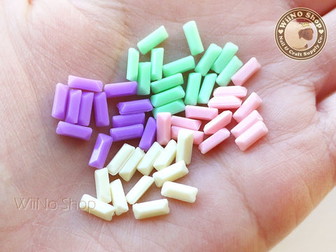 7 x 3mm Pastel Rectangle 3D Point Back Acrylic Rhinestone - 15 pcs (choice of 4 colors)