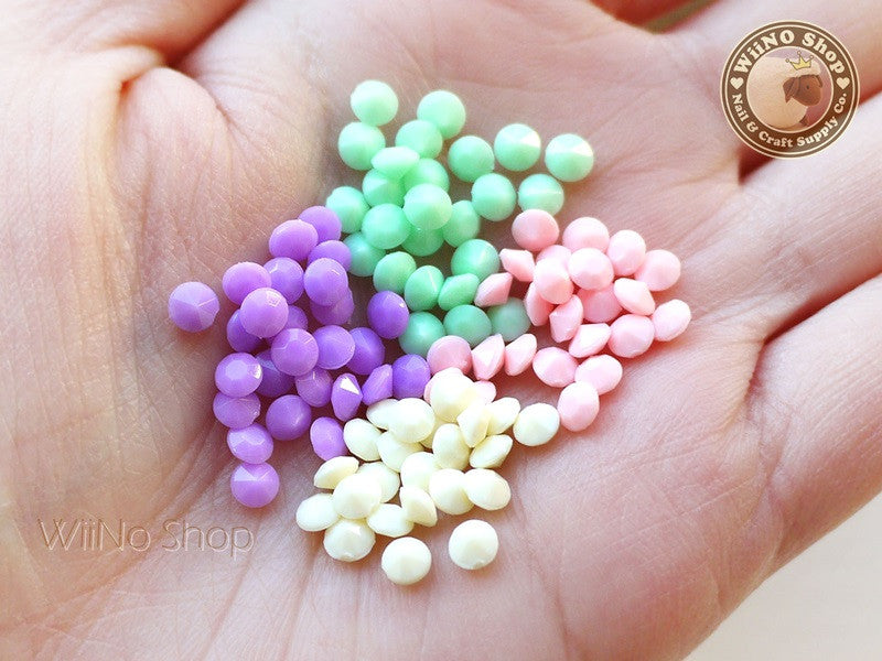 4mm Pastel Round 3D Point Back Acrylic Rhinestone - 15 pcs (choice of 4 colors)