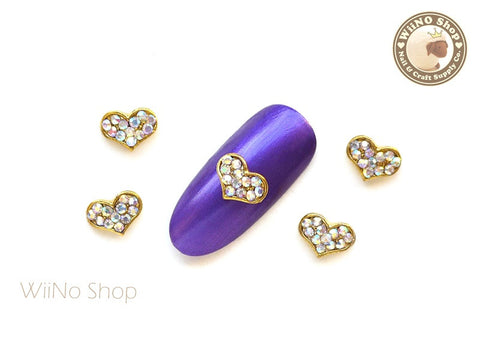 Gold AB Crystal Heart Nail Metal Charm Nail Art - 2 pcs
