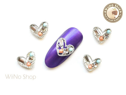 Silver Jewelry Heart Nail Metal Charm Nail Art - 2 pcs