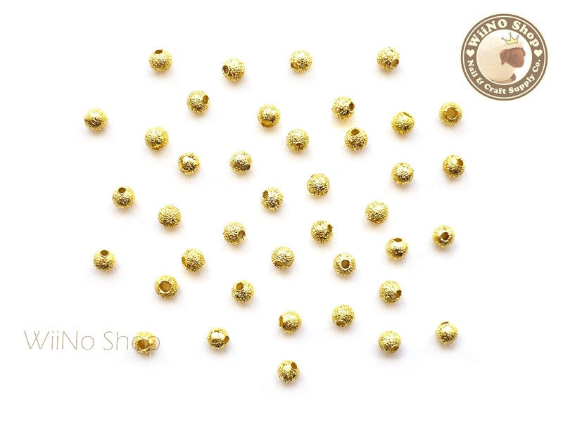 3mm Gold Stardust Beads Nail Art Decoration - 10 pcs