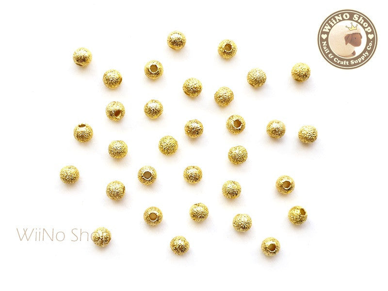 4mm Gold Stardust Beads Nail Art Decoration - 10 pcs