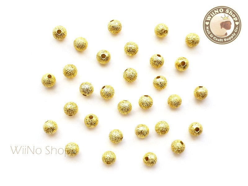 5mm Gold Stardust Beads Nail Art Decoration - 10 pcs